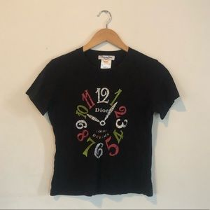 Black Dior T-shirt Shirt w Rhinestones M L Medium